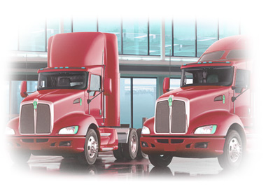 red tractor trailer trucks