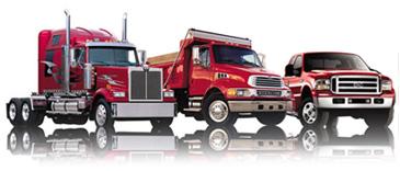 red pickup truck dump truck tractor trailer